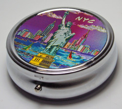 NYC Purple Skyline Pill Box Photo