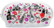 NYC Collage Lips Design Clear Cosmetic Bag