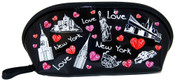 NYC Collage Lips Design Black Cosmetic Bag