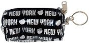 NY Apple Glitter Black Coin Purse