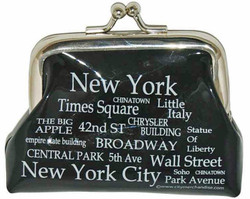NYC Landmarks White Letters Coin Purse Photo