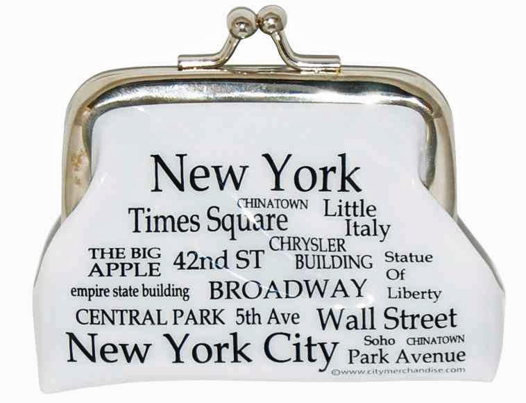 NYC Landmarks Black Letters Coin Purse photo