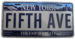 Fifth Ave NY License Plate Photo