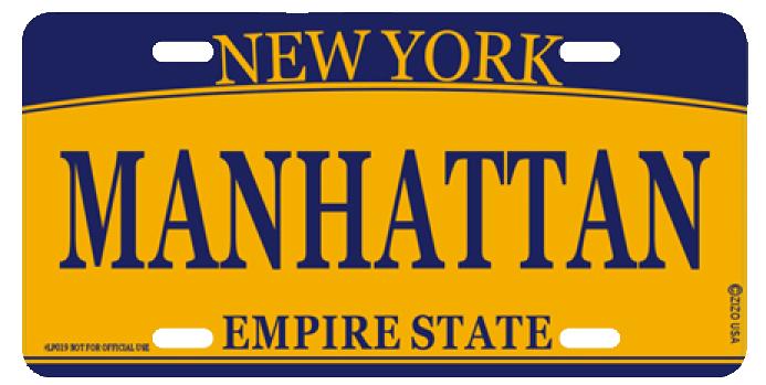 Manhattan NY License Plate photo