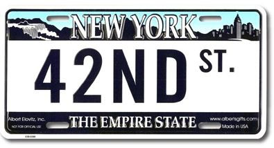 42nd St NY License Plate photo