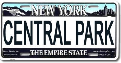 Central Park NY License Plate photo
