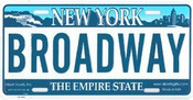 Broadway NY License Plate