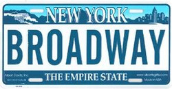 Broadway NY License Plate Photo