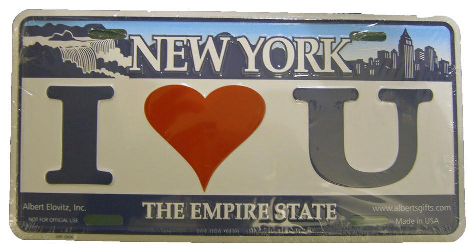 I Love U NY License Plate photo