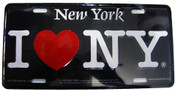 I Love NY License Plate - Black
