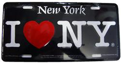 I Love NY License Plate - Black Photo