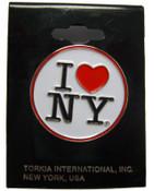 I Love NY White Circle Pin