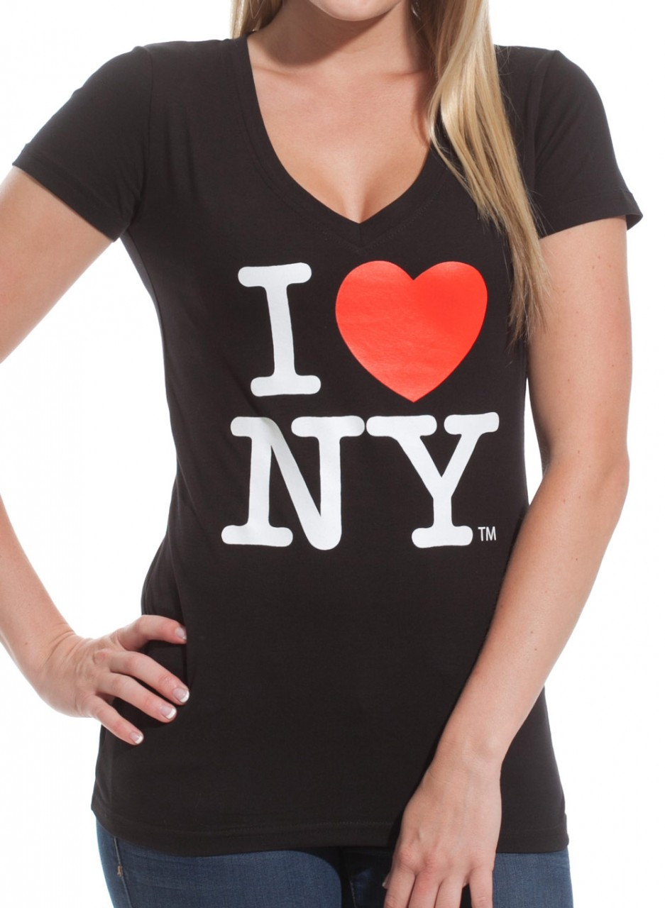 I love ny ladies v neck t shirt black V neck black t shirt