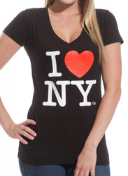 I Love NY Ladies V-Neck T-Shirt - Black Photo