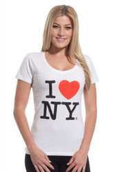 I Love NY Ladies V-Neck T-Shirt - White Photo