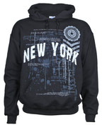 Empire State Distressed Black Hooded Sweatshirt