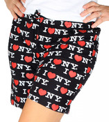 Black I Love NY Pajama Shorts