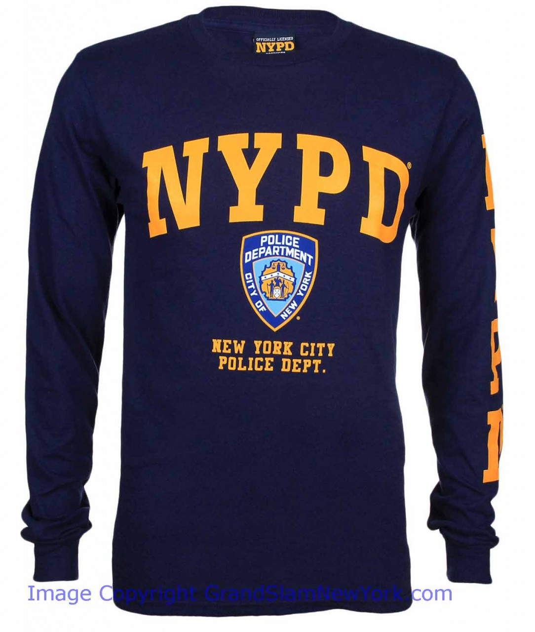 602bc9bc2 NYPD Full Chest and Sleeve Navy LS Tee - front Photo. Loading zoom