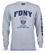 FDNY Full Chest And Sleeve LS Tee - Grey