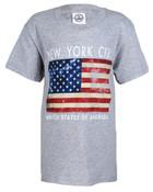 NYC Distressed Flag Grey Kids T-Shirt