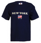 New York American Flag Navy Kids Tee