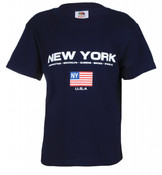 New York Boroughs American Flag Navy Kids Tee
