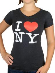 I Love NY Ladies V-Neck T-Shirt - Charcoal Photo