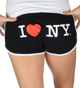 I Love NY Short Shorts - Black