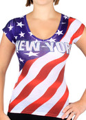 New York American Flag V-Neck Rhinestone Ladies T-Shirt - front