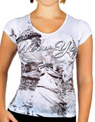 Statue of Liberty Floral Design White Ladies T-Shirt - front