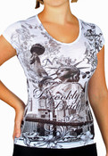 Brooklyn Bridge Floral Design White Ladies T-Shirt