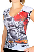 NY Liberty with Taxis Floral Ladies T-shirt - front