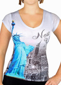 Statue of Liberty Contrast Rhinestones Ladies V-Neck T-Shirt