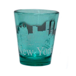 NY Glowing Skyline Shot Glass – Emerald Green Photo
