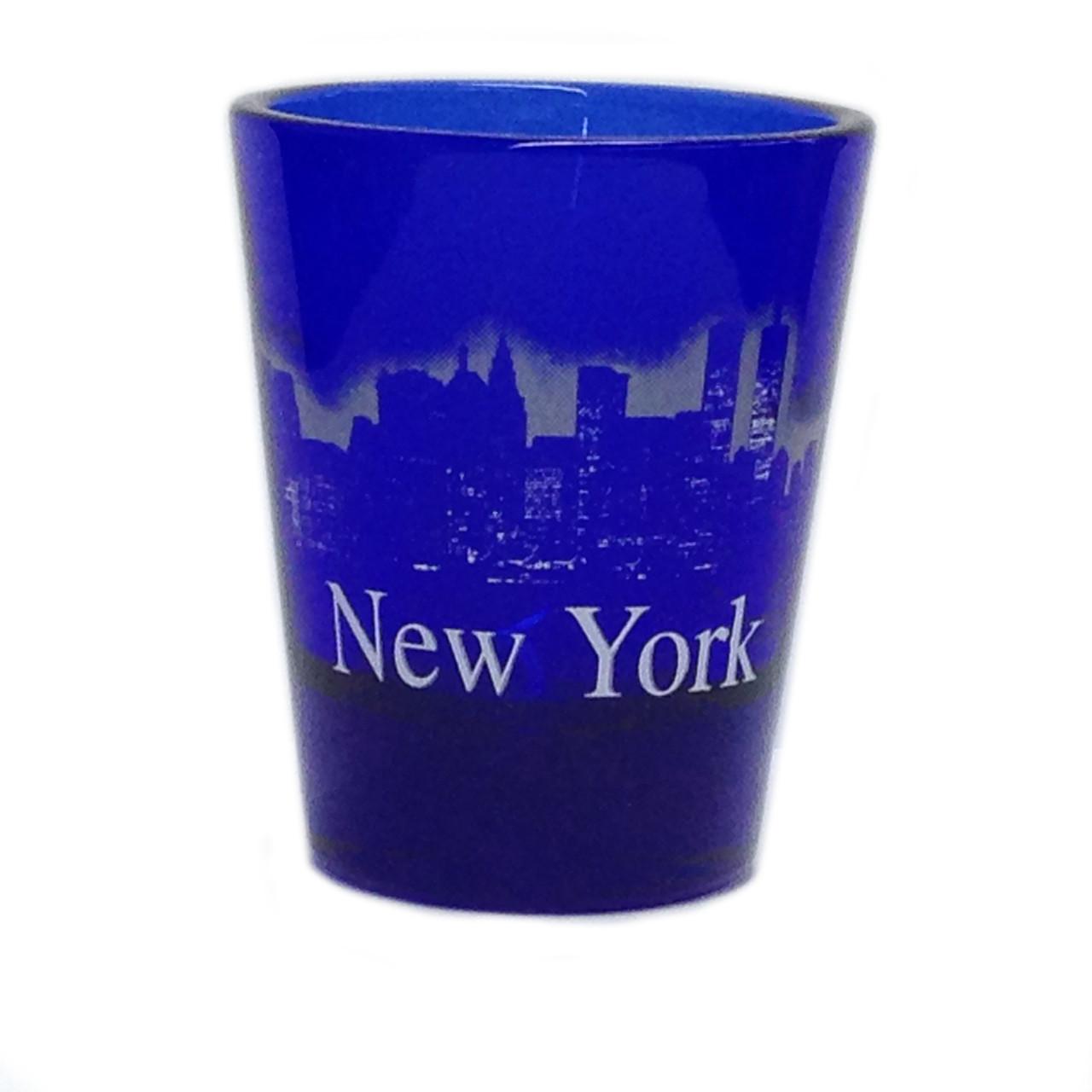 NY Glowing Skyline Shot Glass – Cobalt Blue photo