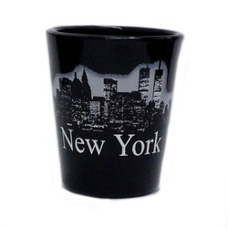 NY Glowing Skyline Shot Glass – Black Photo