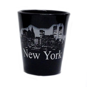 NY Glowing Skyline Shot Glass – Black