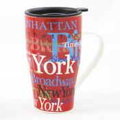 "NYC ""Hotspots"" Ceramic Travel Mug - Red"