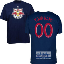 NY Red Bulls Personalized Navy Adult T-Shirt - Red Lettering Photo