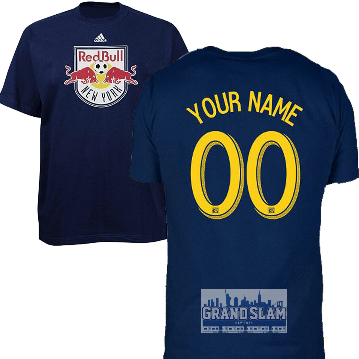 NY Red Bulls Personalized Navy Adult T-Shirt - Yellow Lettering 1371c3190