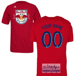 NY Red Bulls Personalized Red Adult T-Shirt - Navy Lettering Photo