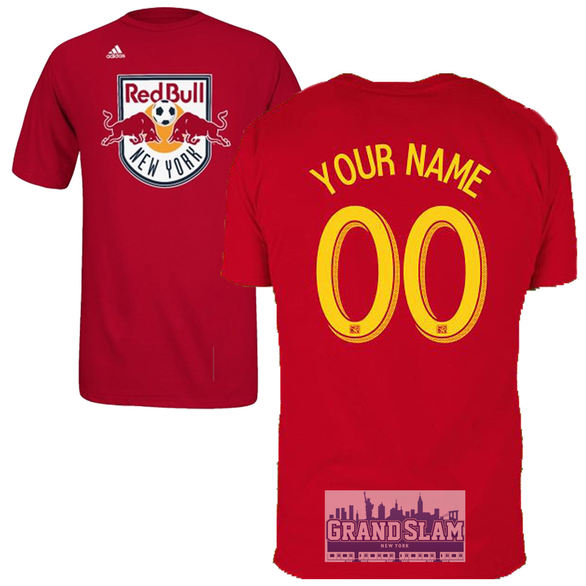 NY Red Bulls Personalized Red Adult T-Shirt - Yellow Lettering photo
