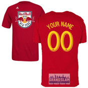 NY Red Bulls Personalized Red Adult T-Shirt - Yellow Lettering