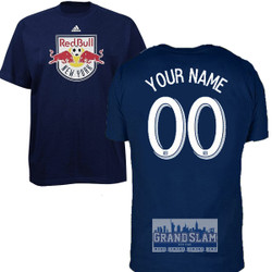 NY Red Bulls Personalized Navy Youth T-Shirt - White Lettering Photo