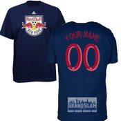 NY Red Bulls Personalized Navy Youth T-Shirt - Red Lettering
