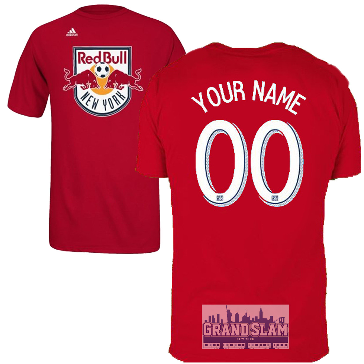 NY Red Bulls Personalized Red Youth T-Shirt - White Lettering photo