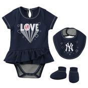 Yankees Love Navy Creeper Dress Bib and Booties 3-PC Set