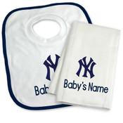 NY Yankees Personalized Bib and Burp Cloth Gift Set