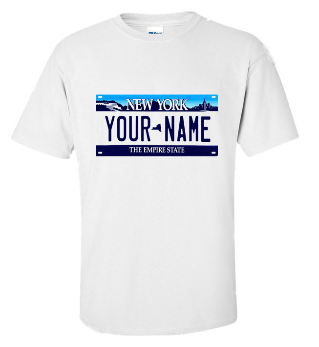 New York Personalized License Plate Shirt 39bec6a77