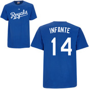 Omar Infante T-Shirt - Royal Blue Kansas City Royals Adult T-Shirt
